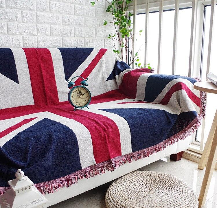 علم الاتحاد نجوم محبوك و شريط مقعد أريكة غطاء منشفة لينة رمي بطانية الدانتيل غطاء منزلق للسرير الشاطئ ساندي السجاد