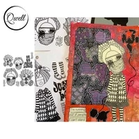 qwell retro woman cover stay safe words clear transparent stamps diy scrapbooking album craft paper cards 2021 hot sale
