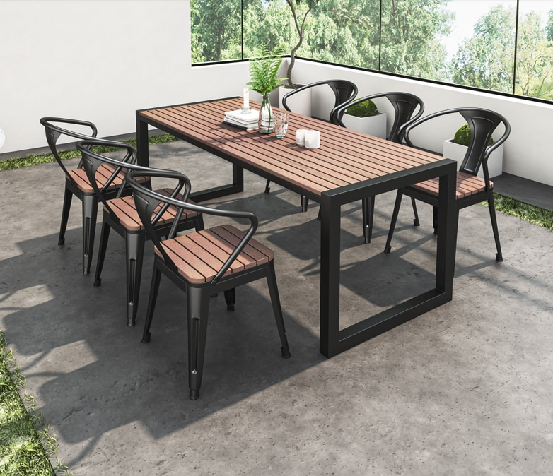Outdoor balcony small table and chair combination leisure outdoor courtyard net red light luxury simple terrace garden table and