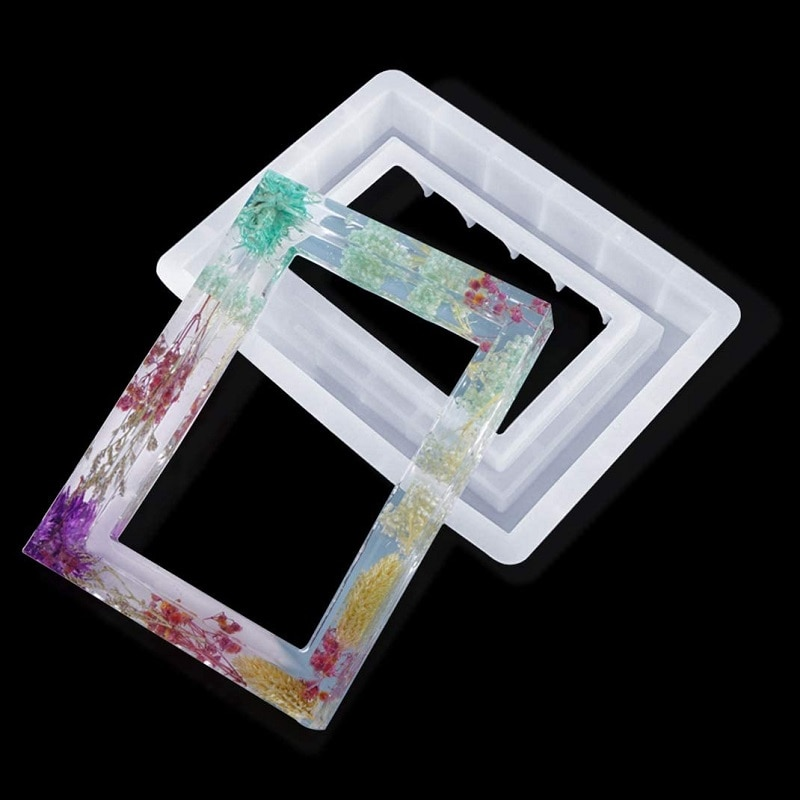 Epoxy Resin Mold Rectangle Photo Frame Mold Silicone Mold Resin Casting Mold for DIY Picture Frame Crafts Decorations