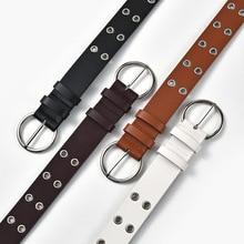 Women Leather Belt Round Metal Pin Buckle Circle Belts Hot Brand Fashion Punk O Ring For Women Belt
