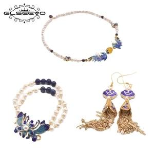 GLEVO Natural Freshwater Pearl Drop Earrings Necklace Bracelet For Women Anniversary Cloisonne Design Fine Jewelry Set GS0027
