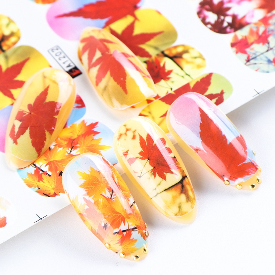 12pcs Autumn Leaf Fall Nail Art Slider Yellow Maple Colorful Design Water Foils Decals Nail Sticker Manicure Decor