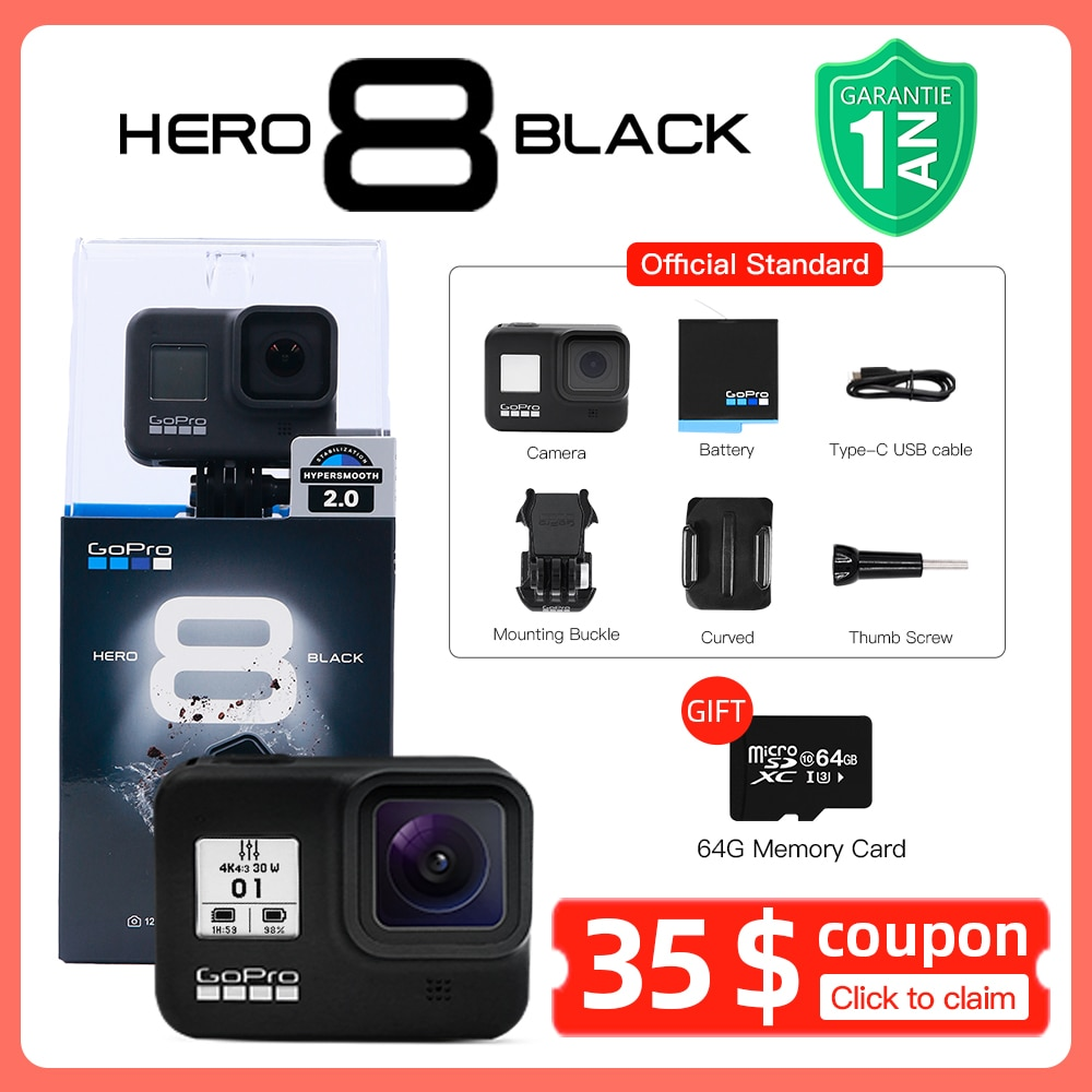 Review Original GoPro HERO 8 Black Action Camera Go Pro Waterproof Sport Action Camera 4K Ultra HD Video 1080p Portable Live Streaming
