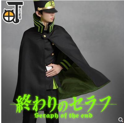 Yuichiro Hyakuya Cosplay Man Military uniform Seraph of the end Cosplay Costume Cloak+Top+Pants+Belt+Hat+Strap