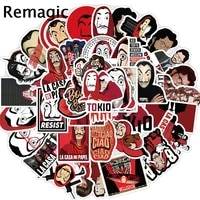 50pcs money heist house of paper stickers packs anime 90s anime paster cosplay scrapbooking diy phone laptop decoration gifts