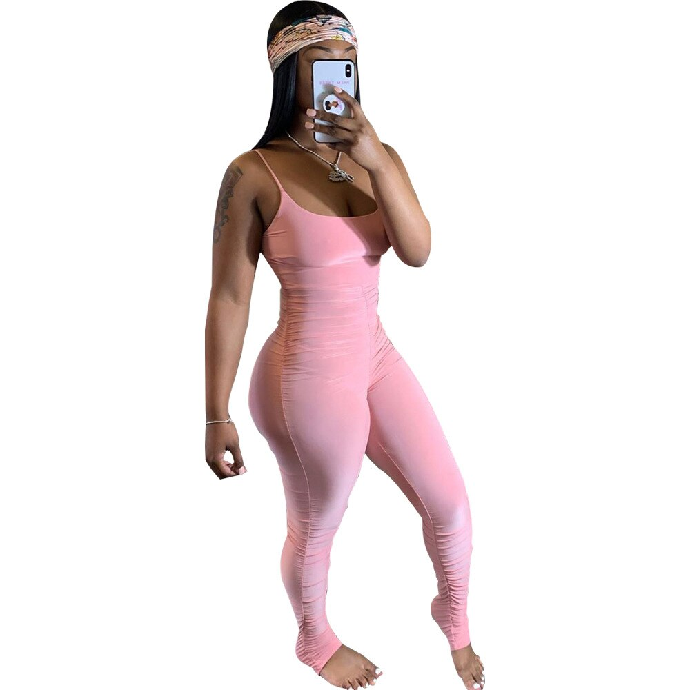 Bodycon Stacked Jumpsuit Women Neon Green Pink Bodysuit Sleeveless Ruched Overalls Summer Long Pants Leggings Romper