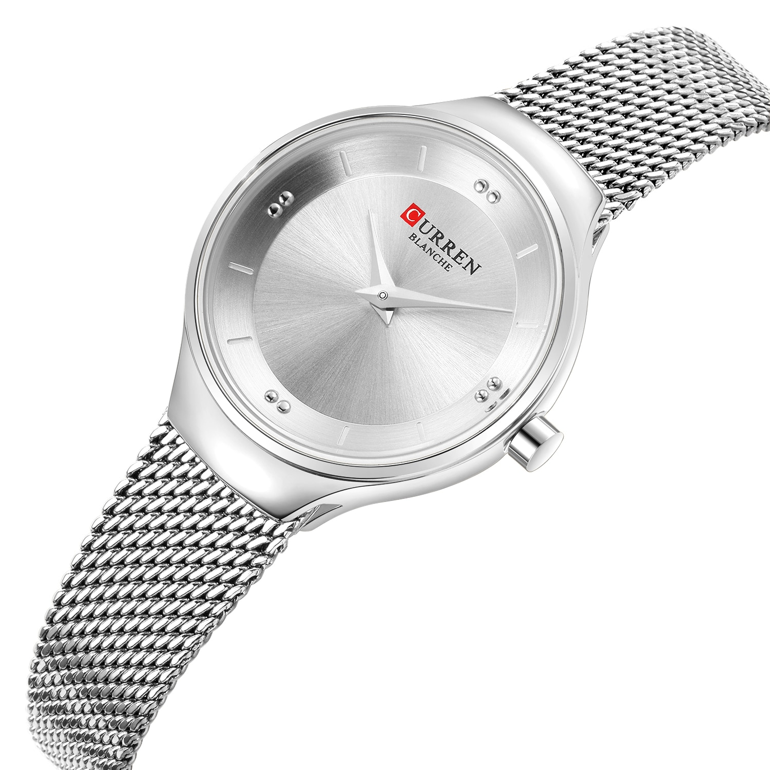CURREN Female Clock Modern Stylish Quartz Watch Silver Stainless Steel Casual Mesh Wrist Watch Minimalist Style Horloges Vrouwen enlarge