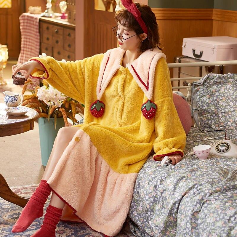 Зимние Утепленные пижамы плюс бархатные милые фланелевые банные халаты женские пижамы из кораллового флиса Женская домашняя одежда для сн...