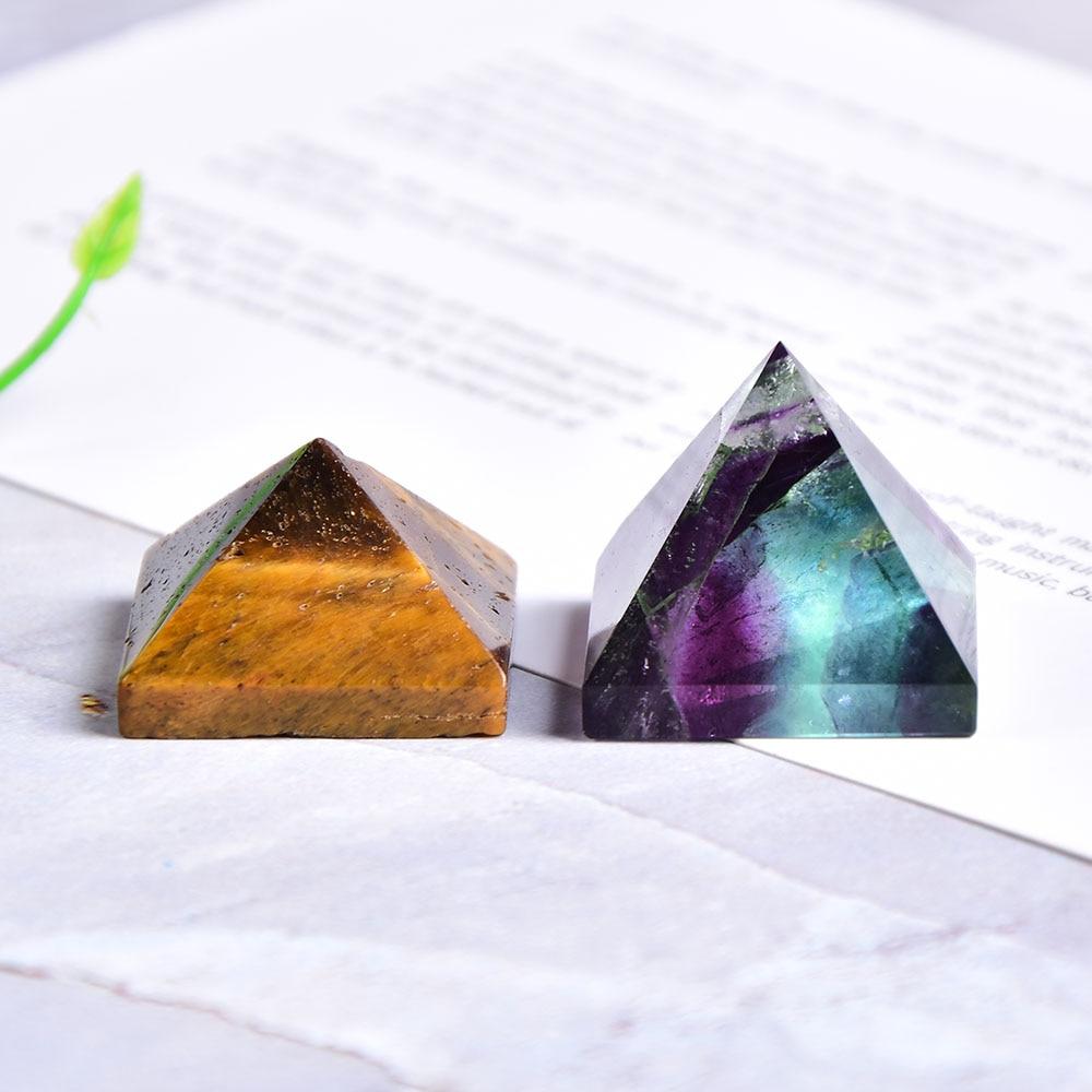 Natural Fluorite Crystal Pyramid Quartz Healing Stone Chakra Reiki Crystal Tiger Eye Point Home Decor Crafts Of Gem Stone 1PC