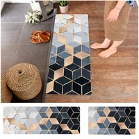 ins style household pvc leather floor mat marble kitchen strip waterproof non slip foot mat simple style bathroom rug set