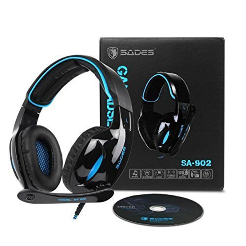 Sades SA902 USB 7.1 Channel Stereo Surround Gaming Headset Wired Headphone With Mic Noise Canceling LED Light Xbox/One PS4 PC enlarge