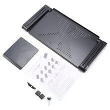 Przenośny składany regulowany stół do laptopa Komputer biurkowy mesa para notebook stojak taca dla kanapą czarny