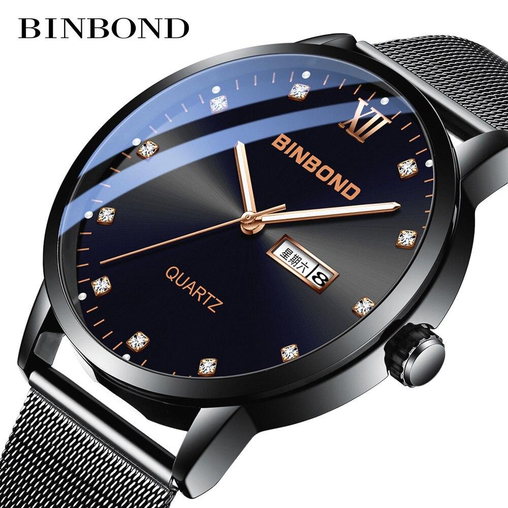 Binbond 2020 الفاخرة موضة رجال الأعمال الساعات العلامة التجارية الفاخرة مقاوم للماء ساعة كوارتز بسيطة عادية