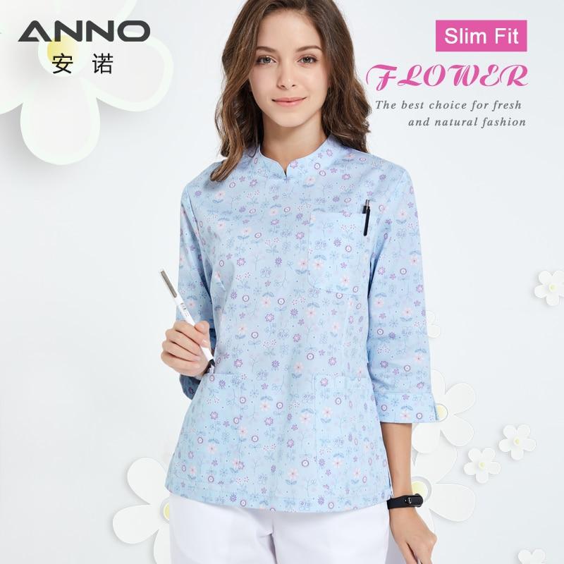 ANNO Hospital Staff Scrubs Half Sleeve Nursing Uniform for Female Dental Clinic Supplies Nurse Women Work Uniforms Shirt