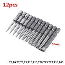 12 pièces tige hexagonale S2 précision magnétique tête de lot creuse 50mm tête de fleur de prunier Torx tournevis foret trou outils à main