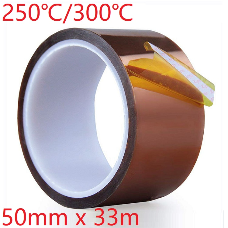 1pcs 33m heat resistant polyimide tape high temperature adhesive insulation tape for bga electronic repair pcb smt 50mm x 33m Polyimide Adhesive Tape BGA PCB 3D Printing Board Protection High Temperature Heat Resistant Electronic Insulation