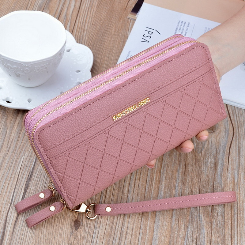 dudini fashion korean style wallet pu leather long section wallet women printing geometric pattern zipper 1 fold women wallets Hot Sale Women Clutch Wallet Top Quality PU Leather Wallets Female Long Wallet Women Double Zipper Purse Coin Purse Card Holder