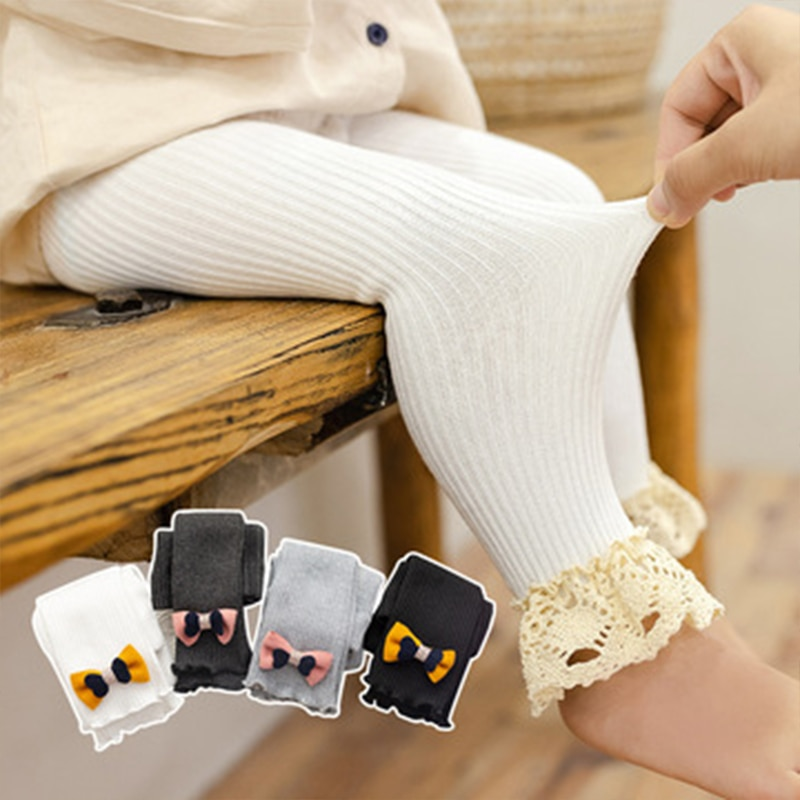 2021 Autumn Baby Girls Leggings Cotton Bow Toddler Children's Leggings Knitted Lace Skinny Pants Casual Newborn Kids Clothes