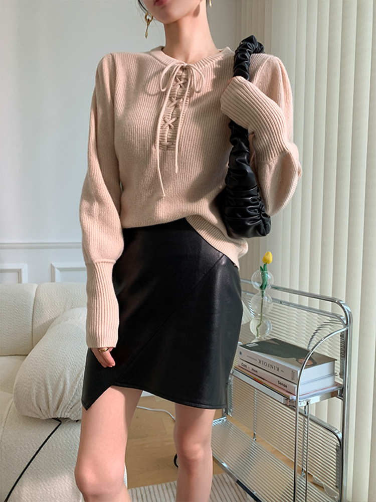 Womens Loose Fit Pullovers Sweater Long-Sleeve Crew Neck Office Lady Solid Color With ribbon Pullover Tops enlarge