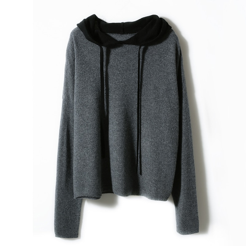 adohon 2021 woman winter 100% Cashmere sweaters knitted Pullovers jumper Warm Female Hooded blouse blue long sleeve clothing enlarge