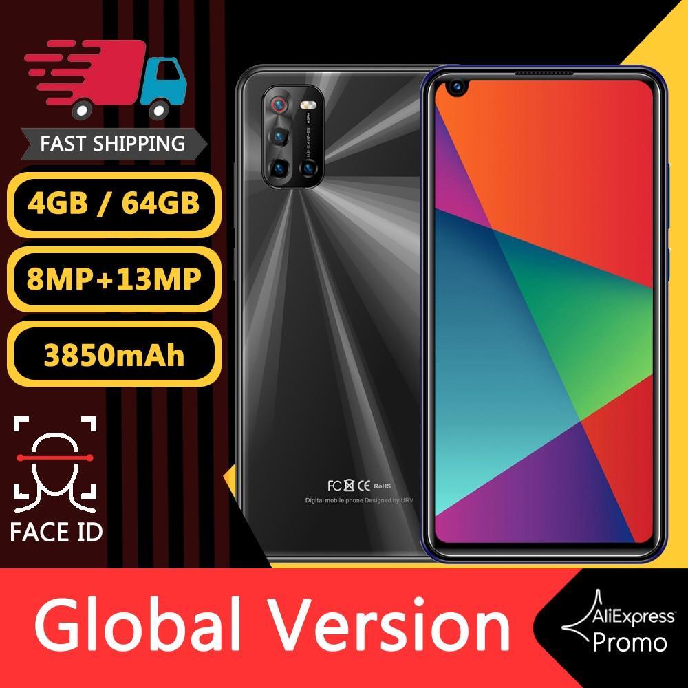 الهاتف الذكي Note10 Pro 4GB RAM 64GB ROM 13MP 3850mAh 4G-LTE 6.72inch Android رخيص هاتف خلوي غير مقفل مع Face ID