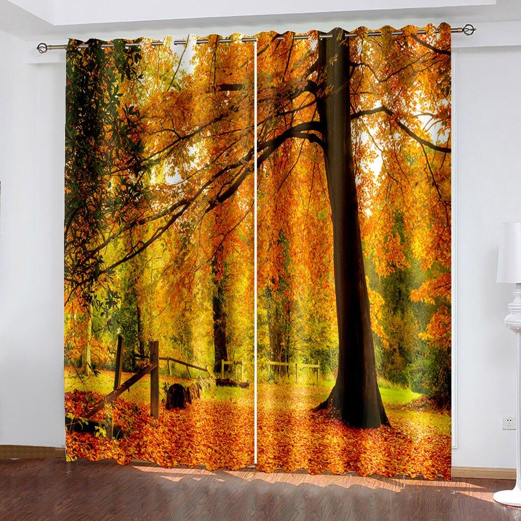 الخريف النفضية مشهد ثلاثية الأبعاد الطباعة الكبار السرير ستارة الغرفة ستارة غرفة المعيشة ستارة الغرفة الظل النسيج مخصص هوك الستار الزخرفية