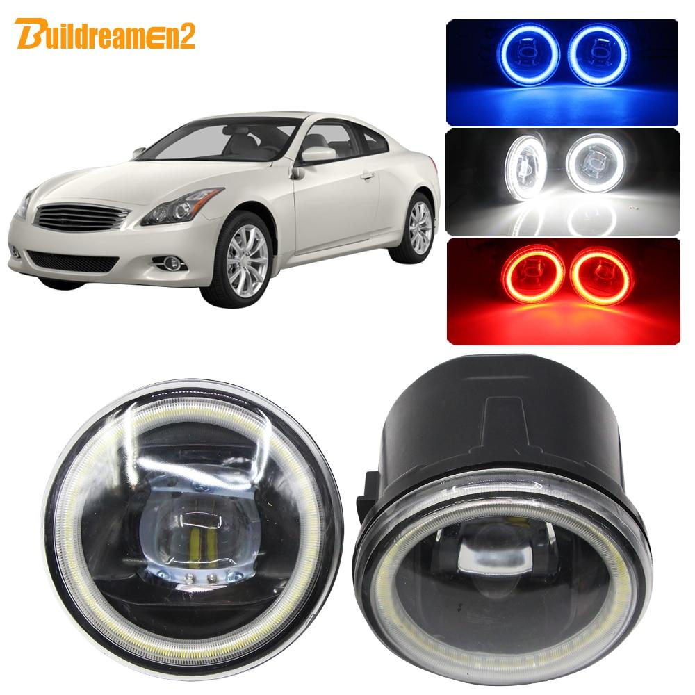 Bombilla LED H11 para coche Buildreamen2, 4000LM, lente de luz antiniebla, luz diurna de ojo de Ángel, 12V para Infiniti G G25 G37 2011 2012 2013
