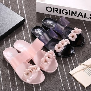 Women Shoes 2020 Casual Slipper Wear Camellia Jelly Beach Summer Fashion Non-Slip PVC