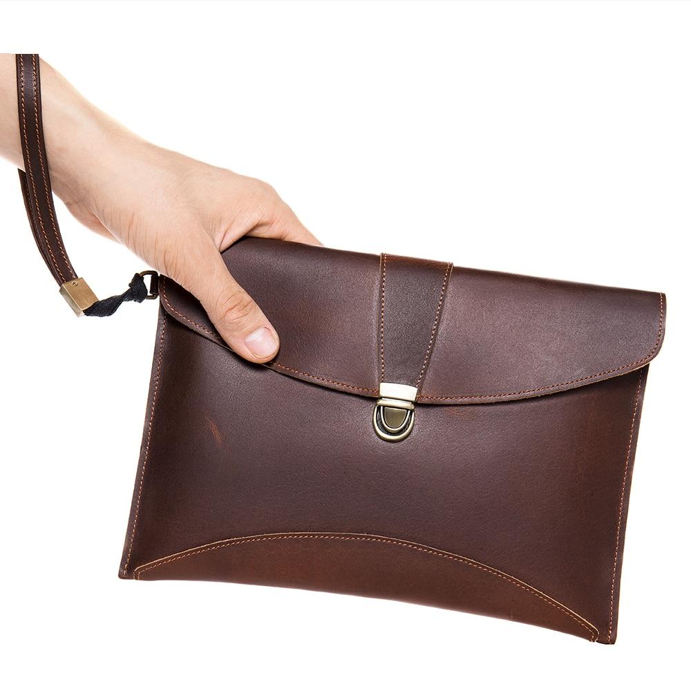 Luufan عالية الجودة حقيبة صغيرة كبيرة للرجال جلد طبيعي حقيبة اليد مع مقبض صالح باد الرجال حقيبة مستندات الهاتف الحقيبة