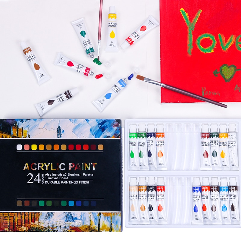 24 Colors Professional Acrylic Paints 12ml Tubes Drawing Painting Pigment Hand-painted Wall Paint for Artist DIY