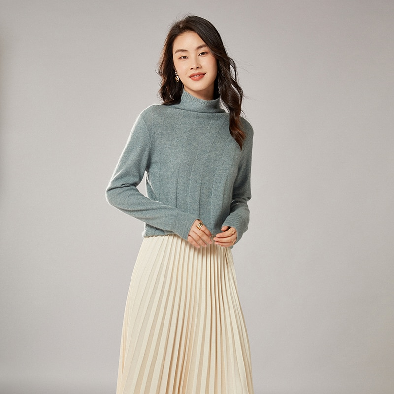 adohon 2021 woman winter 100% Cashmere sweaters knitted Pullovers jumper Warm Female Turtleneck blouse blue long sleeve clothing enlarge