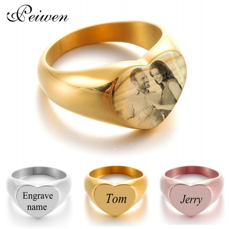 Personalized Ring Engraved Photo Custom Name Rings Stainless Steel Nameplate Ring For Men Women Engagement Wedding Rings Jewelry custom name high quality stainless steel wholesale simple ring fashion gold rings jewelry for women s exclusive wedding ring