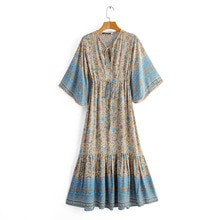 Boho Dresses Loose Fit Bohemian Floral Long Maxi Dress V Neck Short Sleeve Elastic Waist A-line Vestidos Female