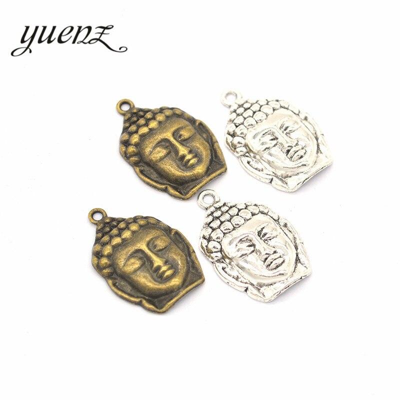 Yuenz 8 pçs antigo prata cor encantos buda banhado pingentes jóias fazendo diy artesanal artesanato 29*19mm t07