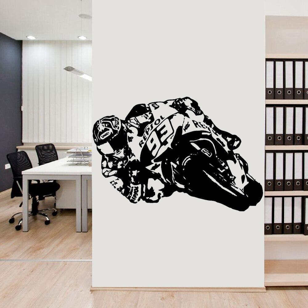 De gran tamaño de la motocicleta pegatinas de arte de pared de vinilo de La etiqueta engomada de la motocicleta Moto Racer Moto calcomanías para vivir habitación niños habitación Decoración de casa