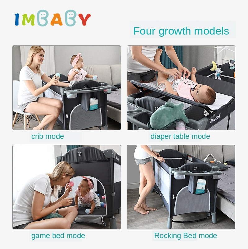 IMBABY New Brotish Baby Crib Splicing Large Bed Removable Multifunctional Portable Folding Newborn Baby Game Bed Cradle Bed Nest enlarge