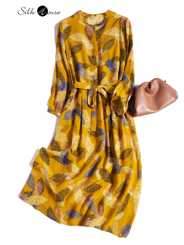 مزاجه الصغيرة الأزهار قميص تنورة فستان حريري التوت الحرير تنورة طويلة الخريف 2021 امرأة