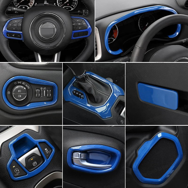 Lsrtw2017 azul Abs salpicadero del coche embellece la cubierta del freno de mano del Panel del engranaje para Jeep Renegade 2016 2017 2018 2019 2020 accesorios para automóviles