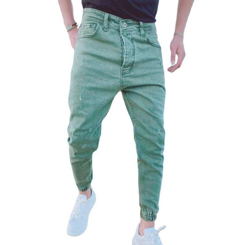 Новинка 2022, мужские джинсы, однотонные модные повседневные спортивные брюки, облегающие прямые брюки, мужские брюки, штаны в стиле High Street