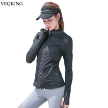 VEQKING Mesh Patchwork Yoga Jacket,Women Long Sleeve Sport Jacket,Breathable Yoga Top,Women Running Gym Fitness Yoga Sport Shirt