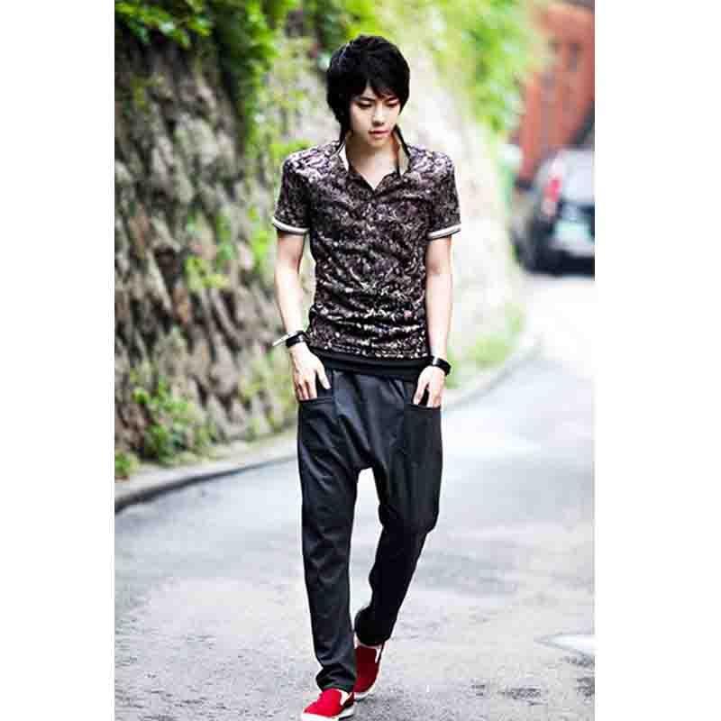 Chaopai-سروال رجالي ، ملابس غير رسمية ، المنشعب المعلق ، نمط Harun ، فضفاض ، عصري ، صيفي