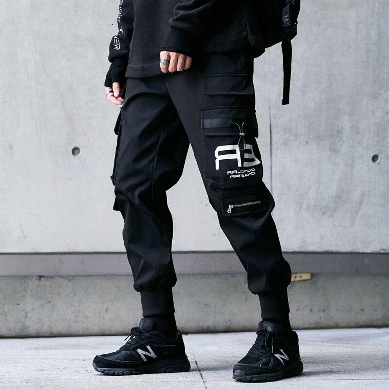 Мужские классические брюки-карго в стиле хип-хоп, Модные шаровары в стиле Харадзюку, черные спортивные брюки-джоггеры, одежда в уличном стил...