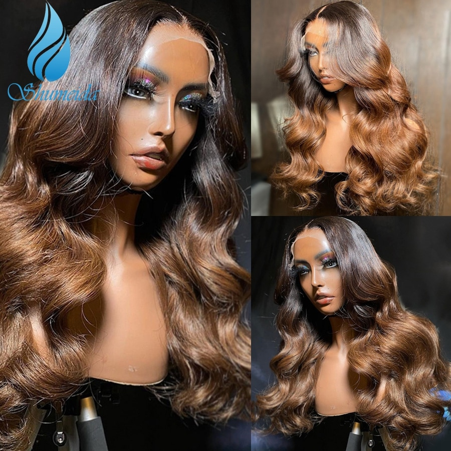 SMD Ombre Brown Color 13*4 Lace Front Wigs Peruvian Remy Human Hair Wigs Baby Hair Highlight Glueles