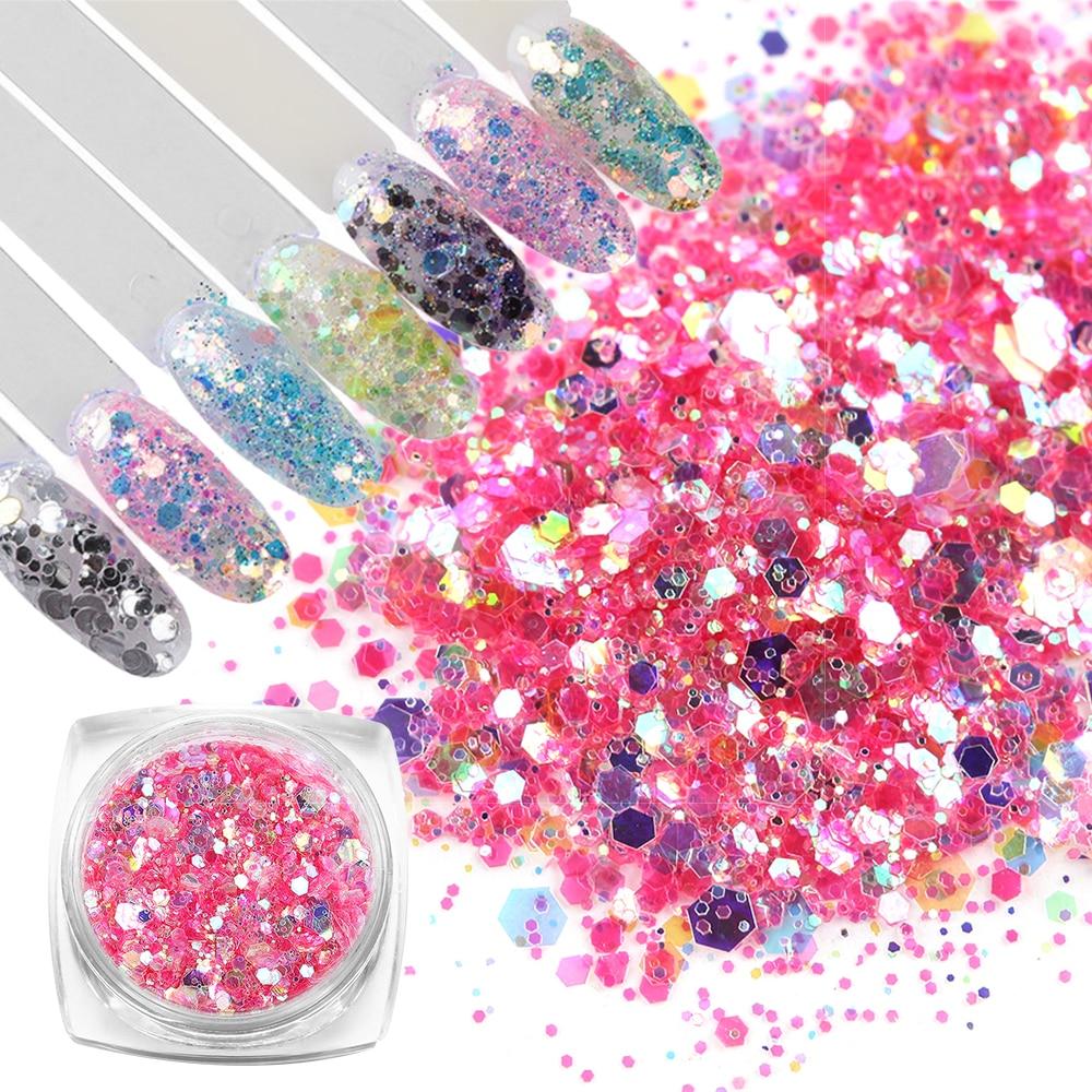 8 unids/set de lentejuelas luminiscentes de purpurina para uñas, pigmento holográfico de sirena, arte en escamas para manicura, decoración de uñas, lámina de arte