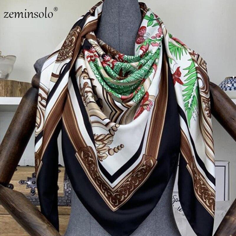 100% Sarja De Seda Lenços Para As Mulheres Bandana Foulard Mulheres de Luxo Da Marca Impresso Quadrado Cachecol Cachecóis Lenços de Moda Xales Wraps 130*130 centímetros