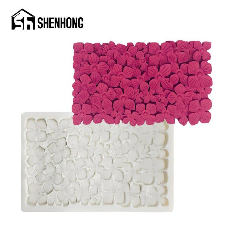 SHENHONG, moldes de Fondant lechoso, Hortensia, herramientas de decoración de bordes de flores, molde de silicona para Tartas, pasta de goma, Pan de postre horneado