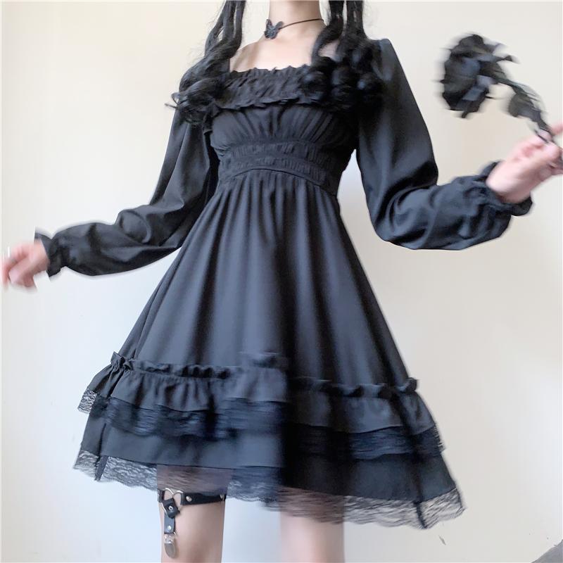 Dress Japan Lolita Style women's princess black mini dress slash neck high waist gothic dress lace puff sleeve skirt new 2021