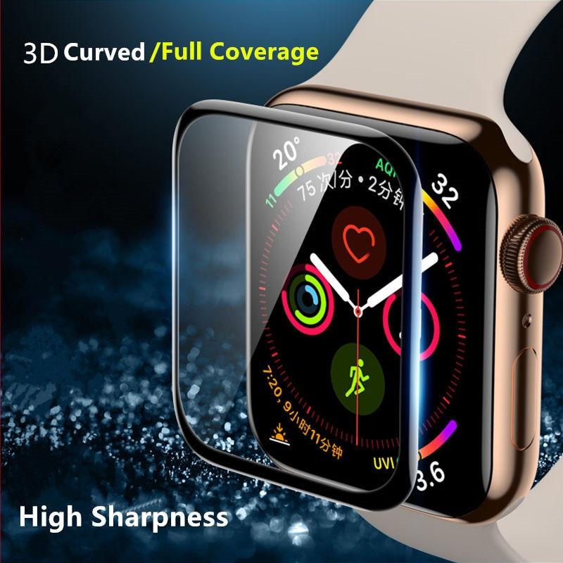 Pantalla de Cristal protector para Apple 5 44mm 40mm iWatch serie 4 3 2 1 42mm 38mm 3D completo borde película apple watch accesorios 44