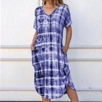 women short sleeve mid long dress summer casual tie dye print loose dresses ladies v neck side splited pockets dress vestidos